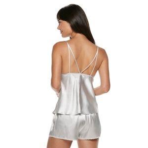 BNWT silver grey satin shorts pyjamas pjs size M  fit 10 12